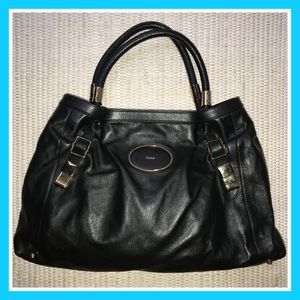 Chloe Large Black Leather Satchel Bag